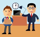Concept dismissal. Boss dismissed employee. Flat vector illustration. Sad cartoon man leaves the office with things.  Royalty Free Stock Photos