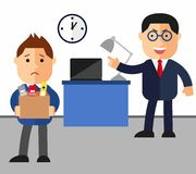 Concept dismissal. Boss dismissed employee. Flat vector illustration. Sad cartoon man leaves the office with things.  Stock Photo