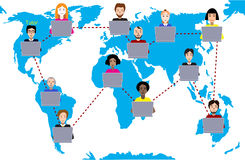 Concept of distance education and e-learning. Tutor instructs students from different countries. Earth map background. Concept of distance education and e Royalty Free Stock Image