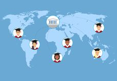 Concept of distance online and e-learning education.. Distance learning, flat vector illustration. illustration with smiling students and the university in the Stock Images