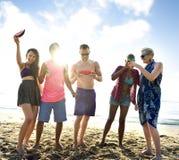 Concept divers de plage d'amusement des jeunes images stock