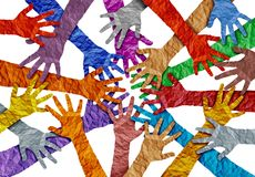 Concept Of Diversity. And crowd cooperation symbol as diverse hands holding together in a 3D illustration style royalty free illustration