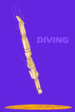Concept of Diving with wooden human mannequin Royalty Free Stock Image