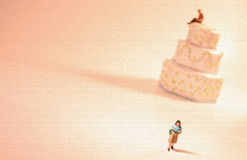 Concept: Divorce or separation. A woman is leaving her man. She is walking away from their wedding cake which represents marriage while he watches her leave Stock Illustration