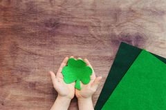 Concept of DIY art project for irish St. Patrick`s day stock photography