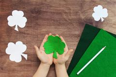 Concept of DIY art project for irish St. Patrick`s day royalty free stock photos