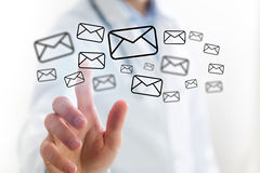 Concept of Doctor touching email icon on technology interface. Concept view of Doctor touching email icon on technology interface Stock Image