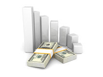 Concept dollar bar chart graph on white background Royalty Free Stock Images