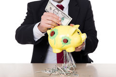 Concept dollar continues to lose value Stock Photography