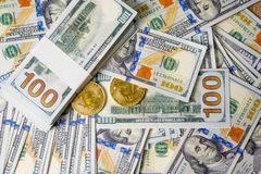 Concept of Dollar Dollars Closeup Concept One hundred dollar bills Lined up Payable taxes are legal. stock photo