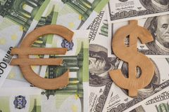 Concept of dollar and euro symbols. On money banknotes close-up Stock Photography
