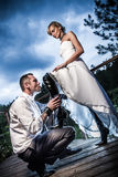 Concept of a dominant woman just married stock photography