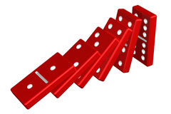 Concept : domino effect. On white background. 3D render Stock Photo