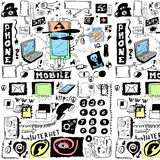 Concept doodle mobile phones pattern Royalty Free Stock Image