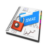 Concept doodles, business charts in a notebook. Office folder concept sketches ideas, business charts on modern tablet computer 3D Illustration Stock Photo