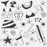 Concept of doodles for summer vacations. Royalty Free Stock Photos