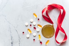 Concept of doping in sport - deprivation medals top view Stock Photo