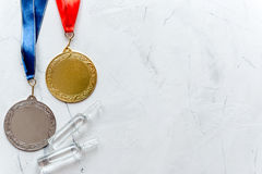 Concept of doping in sport - deprivation medals top view Royalty Free Stock Photography
