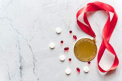 Concept of doping in sport - deprivation medals top view Stock Photos