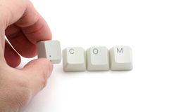 Concept of dot com. Letter keys close up, concept of dot com royalty free stock image