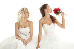 Concept of double wedding. Two sexy brides posing Stock Images