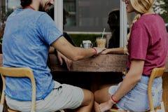 Concept doux de café de date de couples Image libre de droits