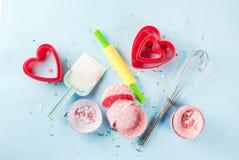 Concept doux de cuisson pour le jour du ` s de Valentine Photographie stock