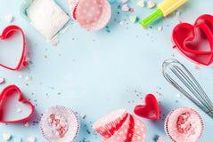 Concept doux de cuisson pour le jour du ` s de Valentine Image libre de droits