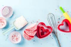 Concept doux de cuisson pour le jour du ` s de Valentine Photos libres de droits
