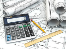 Concept of drawing. Blueprints, drafting tools and calculator. Royalty Free Stock Photos