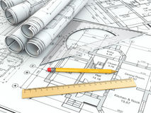 Concept of drawing. Blueprints and drafting tools. Royalty Free Stock Image