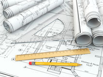 Concept of drawing. Blueprints and drafting tools. Stock Photos