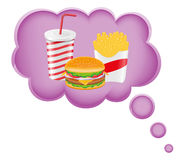 Concept of dream a food in cloud vector illustrati Royalty Free Stock Photography