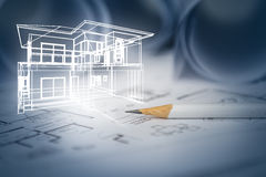 Concept of dream house draw by designer with construction drawin stock images