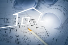 Concept of dream house draw by designer with construction drawin Stock Photos