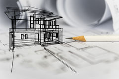 Concept of dream house draw by designer with construction drawin. G as background Stock Photography