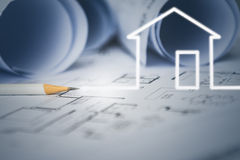 Concept of dream house draw by designer with construction drawing Stock Photography