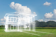 Concept of dream house on green grass Royalty Free Stock Image