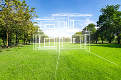 Concept of dream house on green grass Stock Photography