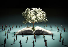 The concept of a dream of success People look at the money tree. Radiating light 3d render on vector illustration