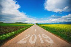 2019 year.Driving on an empty asphalt road at beautiful s stock photos