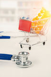 Concept of drug prices. Set of drugs in the shopping trolley Stock Image