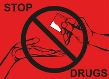Concept without drugs. Decline the crack. The hand gives drugs. Stock Photography