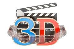 concept du cinéma 3D avec le panneau de clapet de film, rendu 3D illustration stock