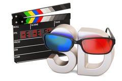 concept du cinéma 3D avec les verres 3D et le verrat numérique de clapet de film Photographie stock