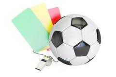 Concept du football avec la carte verte, rouge, jaune et le sifflement 3d au sujet de illustration stock