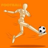 Concept du football avec le mannequin humain en bois Photographie stock