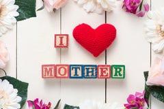 Concept du jour de mère - MÈRE d'AMOUR d'I Photographie stock libre de droits