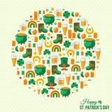 Concept du jour de Patrick heureux avec de belles icônes plates Images libres de droits