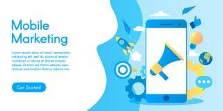 Concept du marketing mobile, illustration d'affaires de vecteur dans la conception plate illustration stock